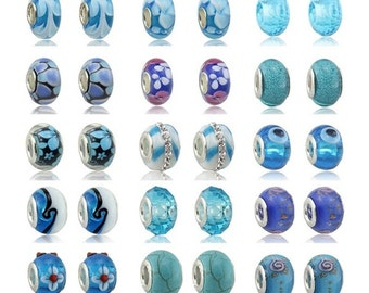 Charm Central Mixed Blue Glass Lampwork Charms for Charm Bracelets - 30 Charms for Charm Bracelets -All Charms Fit Pandora Charm Bracelets