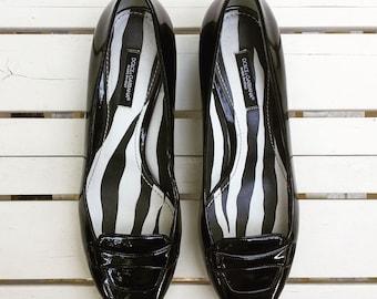 1990's Dolce & Gabbana 'Vero Cuoio' pumps - size 5 - patent black leather
