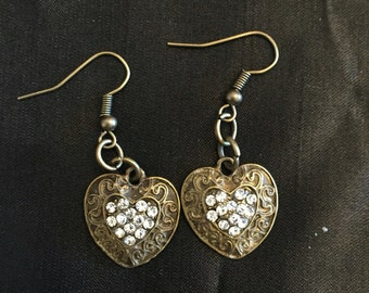 Bronze heart with crystal center dangle earrings