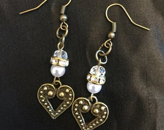 Bronze heart with crystal charm drop earrings