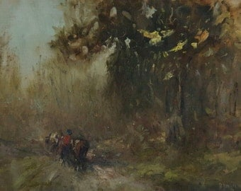 Landscape oil Painting, Handmade art, Impressionism, Tonalism, Oil on Canvas, Signed