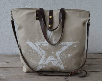 Canvas bag with genuine leather - Italian style