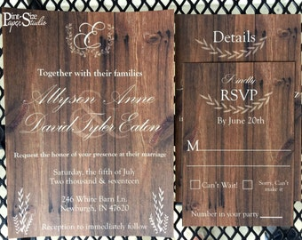 Rustic Woodgrain Wedding Invitation Suite//Wood//Custom//Wood Grain