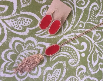 Red Tassel Necklace and Earring matching set