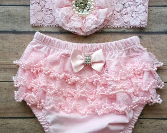Pink newborn  bloomer set - baby pink  bloomer - baby headband - lace bloomer - baby shower gift - newborn bloomer set - baby photo bloomer
