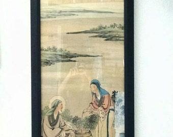 Beautiful Vintage Chinese Rice Paper Print