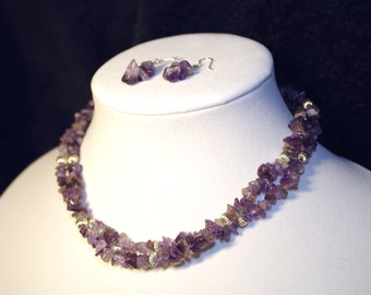 """Handmade 17"""" amethyst purple stone chip and silver double strand necklace w/ earrings"""