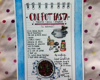 One Pot Pasta Recipe Card