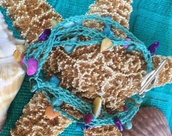 Crochet Teal Shell Silver Bracelet