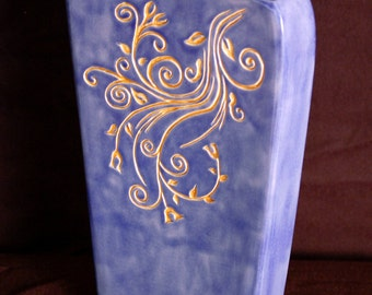 Blue Scrolly Vase