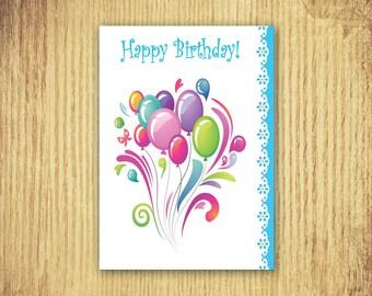 Birthday Balloons ~ Birthday Card ~ 5 x 7 ~ Digital Download Only
