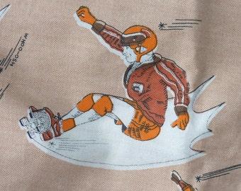"""SKATEBOARDERS!! VINTAGE 1970s FABRIC..2m..original 70s fabric..retro..78""""..skateboarding..skater boys..skate..cushion..dress..blouse..skirt"""