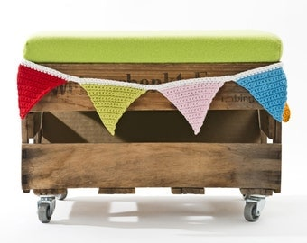 Pennant, eBook Wimpel chain crochet pattern crochet, crochet Garland, crochet pattern