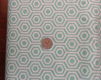 Mint Green Hexagon Cotton Fabric, Mint Green Fabric, Green Fabric Cotton
