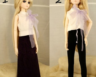 BJD long skirt and white top, black leggings and white top two piece.