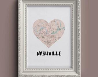 Nashville Heart Map (Digital Printable)