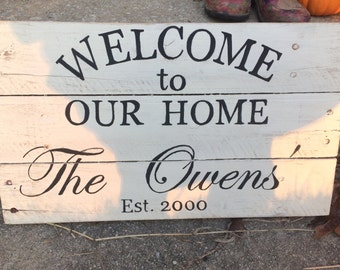 Welcome Monogrammed pallet sign
