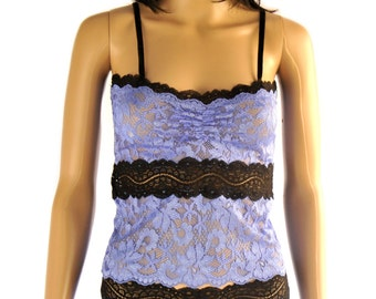 set top and culotte lace and Lycra black and lilac