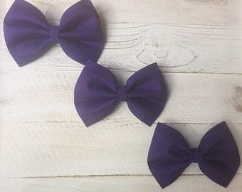 Plum fabric hair bow