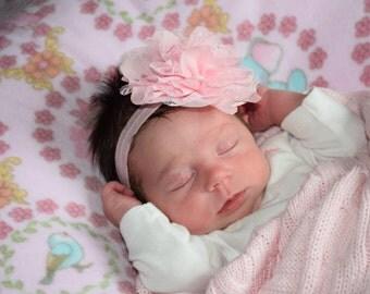 Large Flower headband/Pink Flower Headband/Baby Girl Headband