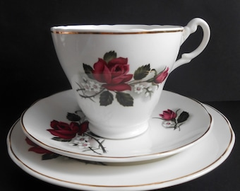 SALE 20% OFF Mayfair Pottery, Rose Teacup, Saucer And Side Plate Trio