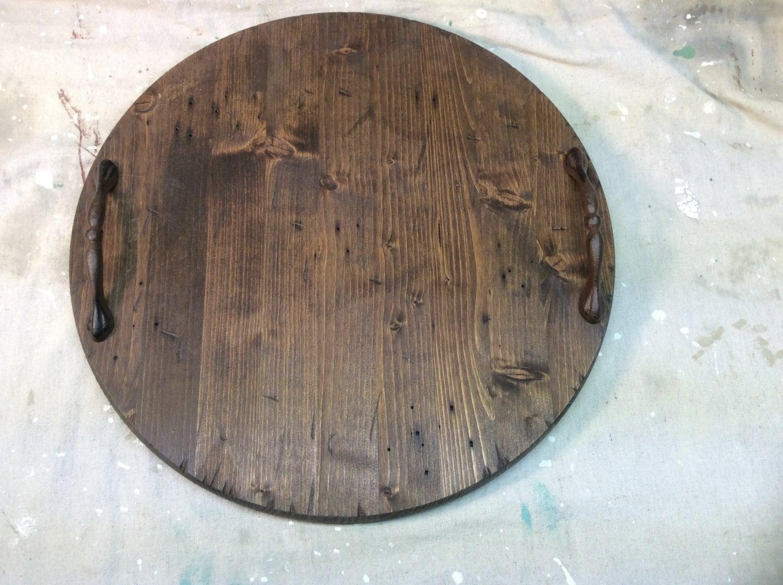 Round Wooden Tray Distressed Dark Stain 17 1 2 Inch