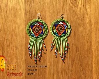 Namacici catcher green- ZULU beaded earrings