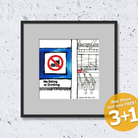 NEW YORK Sketch #05, No Eating or Drinking, Color Ink, High Quality Print, Fine Art Poster, Home Decor, Unframed, FREE Worldwide Shipping!