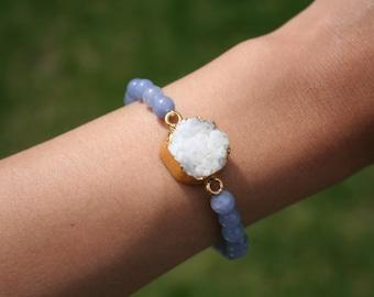 Gold Plated White Druzy On Aquamarine Bracelet