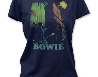David Bowie guitar women's tee - DBJT03(Navy Blue)