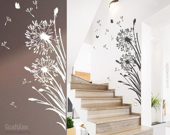 Wall decals + 25 flight seeds flower + butterflies - dandelion wall sticker wall sticker living room bedroom wall decal vinyl wz322