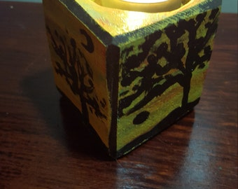 candleholder, hand crafted solid wood with handpainted design