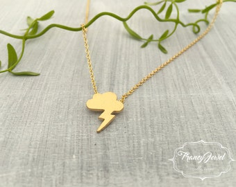 Lightning bolt necklace, lightning gold pendant, gold plated necklace, cloud jewelry, handmade jewel, nature inspired