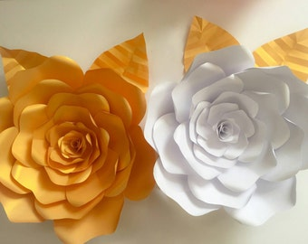 Large Gold Rose Handmade Paper Flower