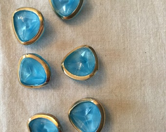 6 light blue oval collector glassbuttons - golden handpainted in Germany in the fifties