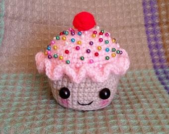 Crocheted Sprinkled Cupcake Amigurumi Pincushion