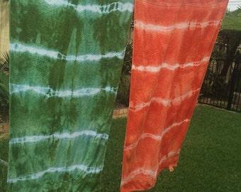 Tie dyed bath towels