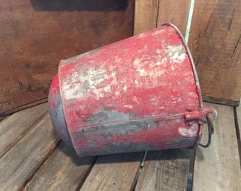 Antique Fire Bucket/Metal Bucket/Old Bucket/Red Bucket/Red Pail/Vintage Pail/Fire Pail/Round Bottom Pail/Round Bottom Bucket/Round Pail/