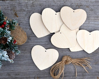 Wooden heart set of 10 pieces christmas decor, christmas ornament, Valentine's day decor natural wood unpainted Wooden supplies