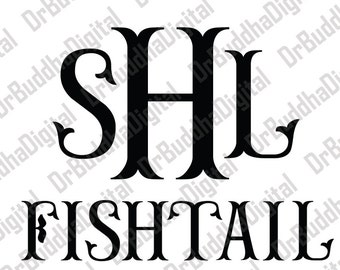 Sale! Fishtail Monogram Font SVG Collection - Fishtail Alphabet DXF - Mermaid Monogram Clipart - File for Silhouette Cameo or Cricut