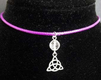 Clear Quartz Triquetra Charm Purple Cord Choker Necklace