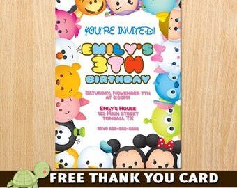 Tsum Tsum Invitation, Tsum Tsum Birthday Invitation, Tsum Tsum Party Printables- free thank you card
