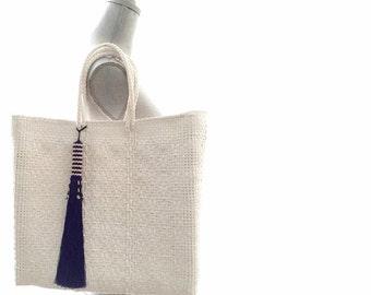 White Beach Bag-Beach Tote-Hand Bag Tassel-Nautical Hand Bag