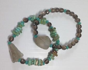 Sand and Sea Set of Two Beaded Bracelets