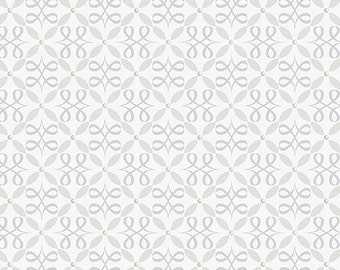 Fabric, Flourish Loops Light Grey, Cotton Fabric, Grey Fabric, Quilting Fabric, Fat Quarter, Fabric by the Yard, Feathers and Flourishes