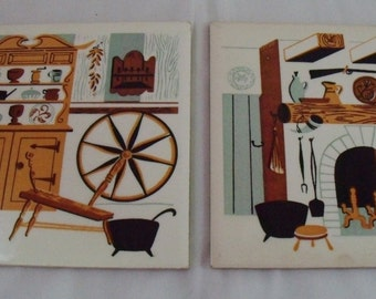 Pair Soriano Ceramic Tiles Primative Scenes Fireplace Spinning Wheel Mid-Century Wall Hangings Trivets
