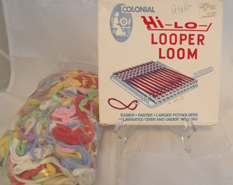 Vtg Potholder Loom Hi-Lo-Looper Colonial Bag Loops for Weaving Original Box