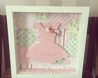 Girls nursery engraved dress frame