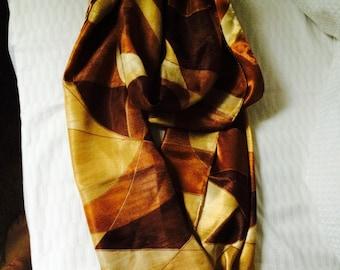 Vintage brown orange cream slinky 1960's scarf