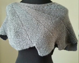 Hand Made, Hand Knit Gray Wingspan Shawl, Shawlette, Women's Accessory